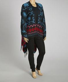 Take a look at this Black & Turquoise Silk-Blend Poncho - Plus by Life and Style Fashions on #zulily today!