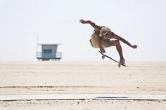 Skateboarding by the beach