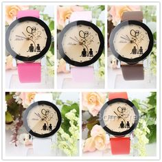 $11.72 Exquisite Watch Leather Belt Watch Round Dial Quartz Watch with Romantic Pattern - BornPrettyStore.com