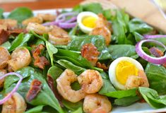 Grilled shrimp top this spinach and egg salad and topped with the warm bacon dressing. Perfect full meal salad for dinner. Serve with some hot rolls to soak up the dressing drips on your plate. Spinach Salad Recipes, Bacon Salad, Egg Salad, Shrimp Salad, Grilled Shrimp, Crab Salad, Pasta Salad, Warm Bacon Dressing, Cooking Recipes