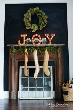 Faux Mantle Holiday Decorating via A  Bowl Full of Lemons LOVE this!!