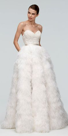 24 Beautiful Feather Wedding Dresses -Trend For 2016 ❤ See more: http://www.weddingforward.com/feather-wedding-dresses/ #wedding #dresses