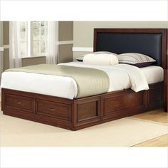 Duet Platform Queen Panel Bed Black Leather Inset - 5546-Y00B