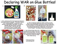 """Keep those glue bottles unclogged!  Coating the """"threads"""" of the lid with petroleum jelly will keep the glue from sticking :)"""
