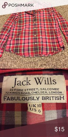Jack Willis plaid flannel shirt Jack Willis plaid flannel shirt- brand new- size 6 Jack Wills Tops Button Down Shirts