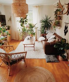living room home decor house decoration apartment small space bohemian rattan chair brown leather couch neutrals plants houseplants # Rooms Home Decor, Interior Design Living Room, Living Room Designs, 70s Home Decor, Interior Designing, Bedroom Designs, Living Room Furniture, Home Furniture, Rustic Furniture