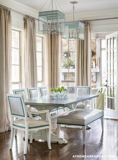 House of Turquoise: Melissa Haynes | dining room Drapery rod at crown molding, fixture height over table
