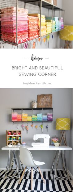 Took my boring sewing space and made it bright and fun, thanks to @worldmarket…