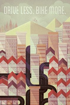 Illustration vectoriel avec textures d'une ville réalisée par Justin Mezzel.