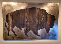 American Bison Silhouette Metal Art Reclaimed Wood by bohlbros