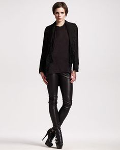 Convertible Fringed Jacket, Drape-Back Charmeuse Tank & Leather Leggings by Ann Demeulemeester at Bergdorf Goodman.