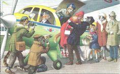 Cartão Postal Alfred Mainzer # 4996-No Avião in Colecionáveis, Cartões postais, Animais | eBay