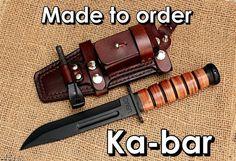 Ka-bar Leather sheath Made to order Edc, Ka Bar Knives, Knives And Swords, Leatherman Wave, Bushcraft Knives, Survival Gear, Survival Knife, Survival Essentials, Survival Prepping