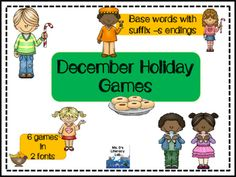Christmas {Games with Rootwords and -s ending}in this set, you will find 6 Christmas partner games. The games features words with the CVC pattern, Consonant Digraphs, and Bonus Letters or the Floss Rule. In addition, these words have the suffix -s ending.