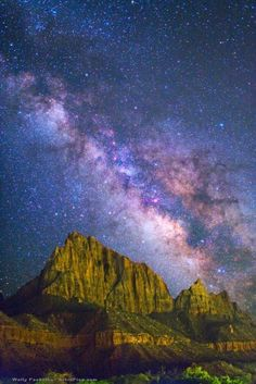 """Zion Galaxy--""""The band of the Milky Way, our home galaxy of 100 billion stars, stands above the Zion National Park in southern Utah, USA. The Zion Canyon marks the junction of the Colorado Plateau and Mojave Desert regions."""" by Wally Pacholka Milky Way Facts, Zion Canyon, Star Pictures, Galaxy Pictures, Thing 1, Beautiful Sky, Looks Cool, Artist Canvas, Stargazing"""