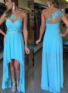 Charming Prom Dress,High/Low Prom Dress,Chiffon Prom Dress,One-Shoulder Evening Dress High Low Prom Dresses, Best Prom Dresses, Black Prom Dresses, Beautiful Prom Dresses, Pretty Dresses, Formal Dresses, Evening Party Gowns, Evening Dresses, Lace Prom Gown