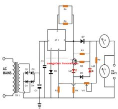 Electronic Circuit Projects, Electronics Projects, Battery Charger Circuit, Power Supply Circuit, Simple Circuit, Electronic Schematics, Voltage Regulator, Circuit Diagram, Ac Power
