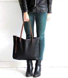 Beautiful Black Leather Tote Bag with zipper  Laptop bag  by sord, $205.00