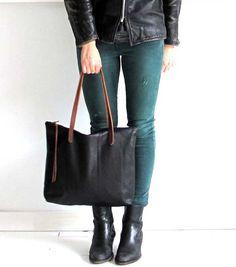 Bella Black Leather Tote Bag con cerniera, Laptop bag, borsa libro in pelle con cinghie di cuoio marrone o nero