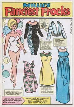 Millie's Fanciest Frocks * 1500 free paper dolls for other Pinterest paper doll pals at Arielle Gabriel's The International Paper Doll Society *