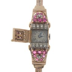 Vintage 1940's Ruby Diamond & 14K Pink Gold Retro Period Covered Watch…