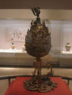 The Gilt-bronze Incense Burner of Baekje is the 287th National Treasure of Korea and was designated on May 30, 1996. It is currently housed at the Buyeo National Museum. During an excavation of an ancient temple site in Neungsan-ri, Buyeo County in Chungcheongnam-do in 1993, the incense burner was the largest find among 450 artifacts excavated.