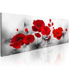 Red Poppy Flowers Artwork Abstract Grey Background Chinese Ink Painting Canvas for sale online Flower Painting Canvas, Flower Artwork, Flower Canvas, Abstract Flowers, Canvas Art, Ink Painting, Arte Floral, Wall Art Pictures, Acrylic Art