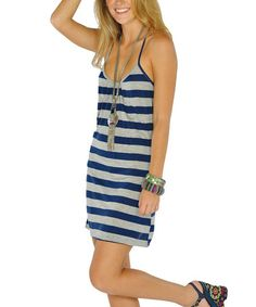 Take a look at this Navy Stripe Lace-Back Dress by Lagaci on #zulily today!