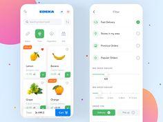 App for online grocery order designed by Yev Ledenov. Android Design, App Ui Design, Mobile App Design, Dashboard Design, Design Design, Grocery List App, Grocery Delivery App, Ui Design Inspiration, Design Quotes