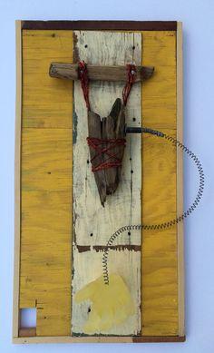 Suspended, repurposed encaustic by Harmony Jones