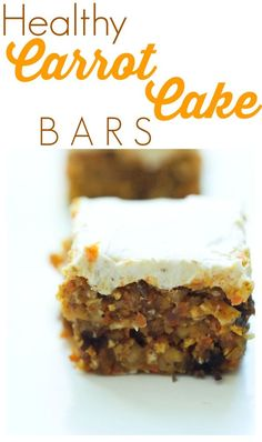These healthy Carrot Cake Bars are incredible! You can't go wrong with this easy and healthy dessert recipe. Such a great special treat with an incredible frosting.  Low sugar, no bake, and gluten-free!