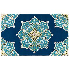 Delray Rug Navy/Teal Area Rugs ($59) ❤ liked on Polyvore featuring home, rugs, navy area rug, dark blue rug, dark blue area rug, patio floor covering and patio rugs