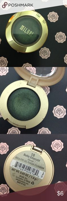 Milani eyeshadow in bella emerald Lightly swatched Milani Makeup Eyeshadow
