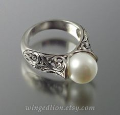 The ENCHANTED Pearl 14K white gold ring by WingedLion on Etsy, $1255.00