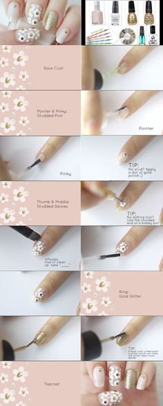 Every girl likes apply different nail art designs to their nails. Here is a step by step tutorial on how to apply nail art design at home along with videos. Daisy Nail Art, Daisy Nails, Flower Nail Art, Hair And Nails, My Nails, Nail Art At Home, Manicure Y Pedicure, Nude Nails, Nail Tutorials