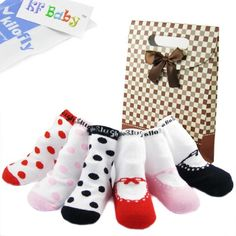 KF Baby Non-Skid Baby Girl Shoe Socks, 6 pairs, for 6 - 18 Months, with Gift Bag 6 pairs set. Sole Length: 10 - 11 cm ( 4 - 4.5 inches); Recommended for babies between 6 - 18 months. Come with a KF Baby gift bag. Cotton blend. Machine wash tumble dry.  #KFBaby #Apparel