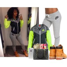 A fashion look from November 2014 featuring hooded windbreaker jacket, cuffed sweatpants and neon jacket. Browse and shop related looks.