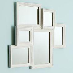 White Vintage Collage Framed Mirror | PBteen