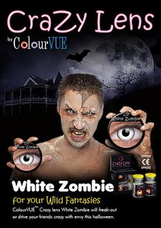 White zombie contacts Get them at www.ohmykitty.com #cosplayers #ohmykittydotcom #contacts #circlelenses #popular #cosplay #eyes #makeup #halloween #costumes Cat Eye Contacts, Halloween Ideas, Halloween Costumes, Eye Contact Lenses, White Zombie, Wildest Fantasy, Circle Lenses, Scary, Cosplay