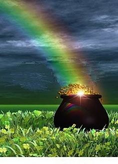 Pot of Gold. A Pot of Gold at the End of The Rainbow , St Pattys, St Patricks Day, Saint Patricks, O Ritual, Rainbow Magic, Irish Eyes, Luck Of The Irish, Over The Rainbow, Clematis