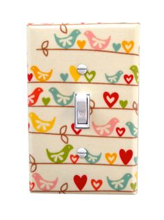 Items similar to Bird Light Switch Plate Cover / Girls Kids Room / Baby Nursery Decor / Sweetest Bird by Riley Blake on Etsy Switch Plate Covers, Light Switch Plates, Light Switch Covers, Color Me Mine, Toddler Rooms, Big Girl Rooms, Room Accessories, Fabric Covered, Fabric Patterns