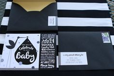 Modern Stork Themed Baby Shower in Black, White, and Gold