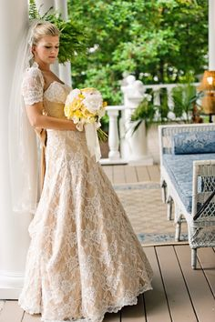 horse farm wedding by ddkportraits Love this dress!! Lacy and a little sleeve!!