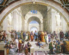 La Escuela de Atenas  Esta famosa obra de Rafael que decora los Apartamentos Vaticanos está protagonizada por los más famosos filósofos y sabios de la Antigüedad. En el centro, Platón y Aristóteles.