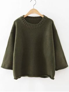 Sweaters by BORNTOWEAR. Ribbed Neck Drop Shoulder Roll Hem Sweater