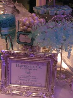 With the mostess 174 tiffany themed wedding candy and dessert buffet
