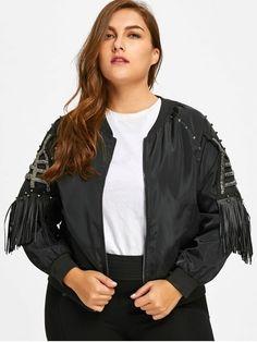 Beading Fringes Plus Size Jacket - BLACK 4XL