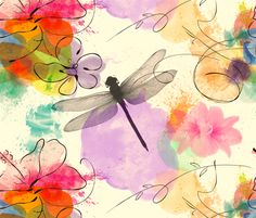 Dragonfly Watercolour fabric by house_of_henry on Spoonflower - custom fabric