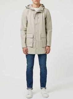 Stone Rubberised Parka - Men's Coats & Jackets - Clothing - TOPMAN USA