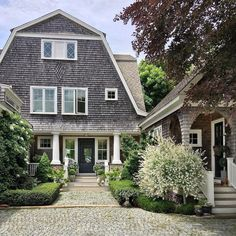 "After a crazy weekend (I will spare you the details) you pull up to your house, you breath easy and say ""I'm home"". Dutch Colonial Homes, Storybook Homes, Shingle Style Homes, Yellow Cottage, Dream House Plans, Modern Spaces, Coastal Homes, Beach House, House Styles"